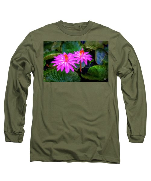 Abstracted Water Lilies Long Sleeve T-Shirt