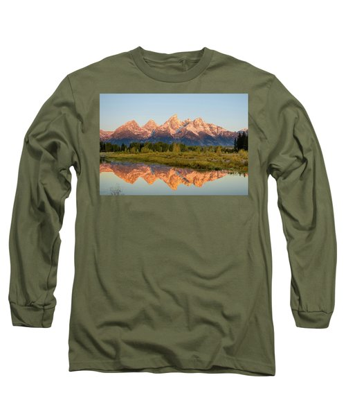Long Sleeve T-Shirt featuring the photograph Alpen Glow On The Tetons by Mary Hone