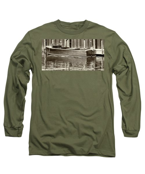 Antique Wooden Boat By Dock Sepia Tone 1302tn Long Sleeve T-Shirt