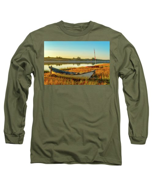 Boats In The Marsh Grass, Ogunquit River Long Sleeve T-Shirt