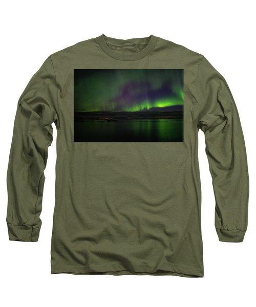 Aurora Borealis Reflecting At The Sea Surface Long Sleeve T-Shirt