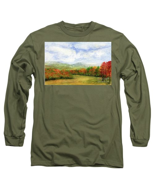 Autumn Day Watercolor Vermont Landscape Long Sleeve T-Shirt