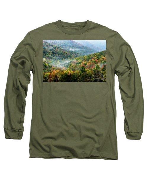 Autumn Hillsides With Mist Long Sleeve T-Shirt