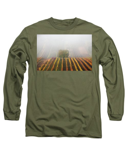 Autumnal Tree In  Fog Long Sleeve T-Shirt