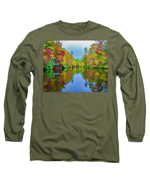 Long Sleeve T-Shirt featuring the photograph Autumn On Mirror Lake by Andy Crawford