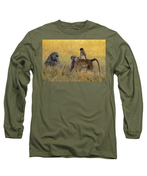 Baboons In Botswana Long Sleeve T-Shirt