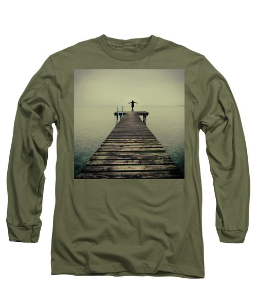 Ballerina Pose At Idyllic Lake At Winter Long Sleeve T-Shirt