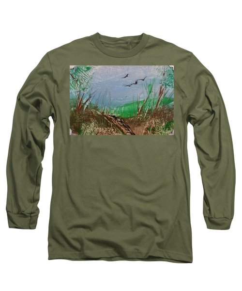 Birds Over Grassland Long Sleeve T-Shirt