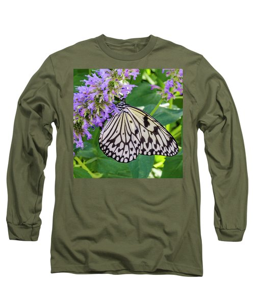 Black And White On Purple Long Sleeve T-Shirt