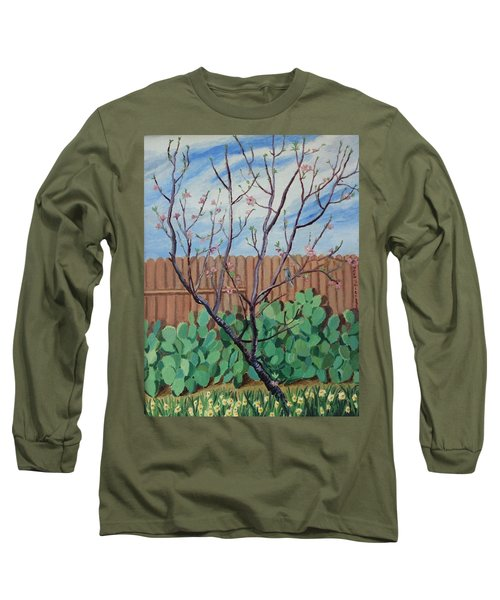 Blooming Peach In Our San Antonio Backyard Long Sleeve T-Shirt
