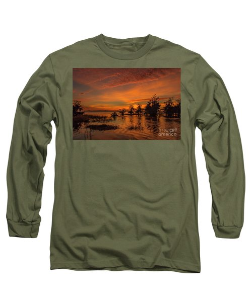 Blue Cypress Sunrise With Boat Long Sleeve T-Shirt