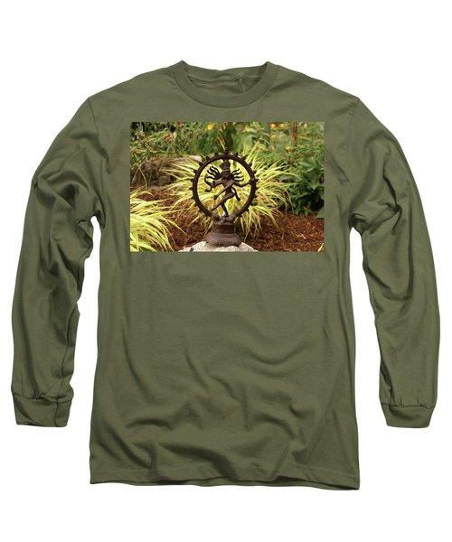 Bronze Shiva In Garden Long Sleeve T-Shirt