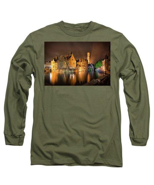 Brugge Belgium Belfry Night Long Sleeve T-Shirt