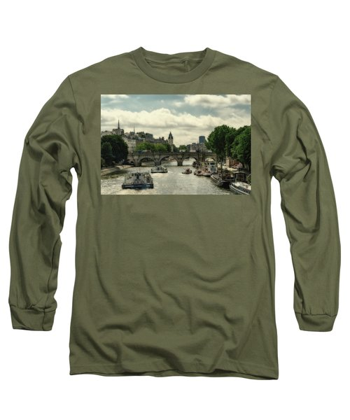Busy Morning On The Seine Long Sleeve T-Shirt