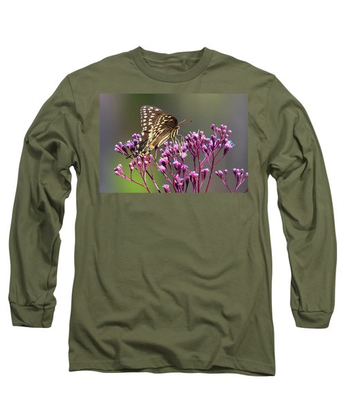 Butterfly On Wild Flowers Long Sleeve T-Shirt