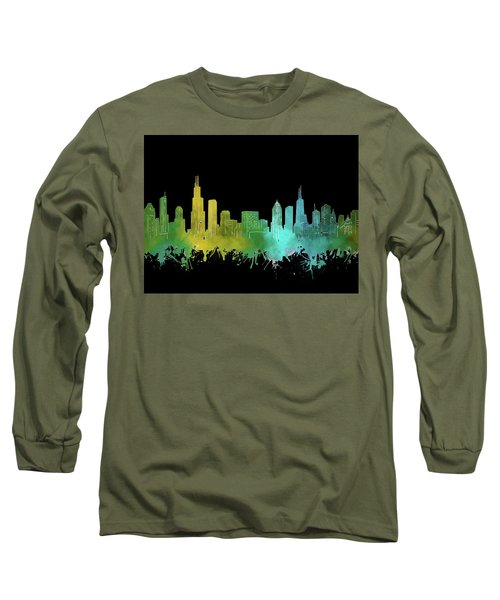 Chicago Skyline Watercolor 3 Long Sleeve T-Shirt