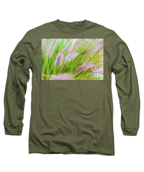 Colorful Flowers In Purple Spikes, Purple Fountain Grass, Close- Long Sleeve T-Shirt
