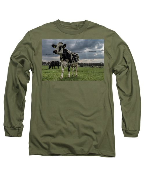 Long Sleeve T-Shirt featuring the photograph Cows Landscape. by Anjo Ten Kate