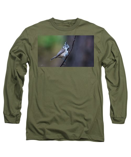 Crested Tit On A Twig Long Sleeve T-Shirt