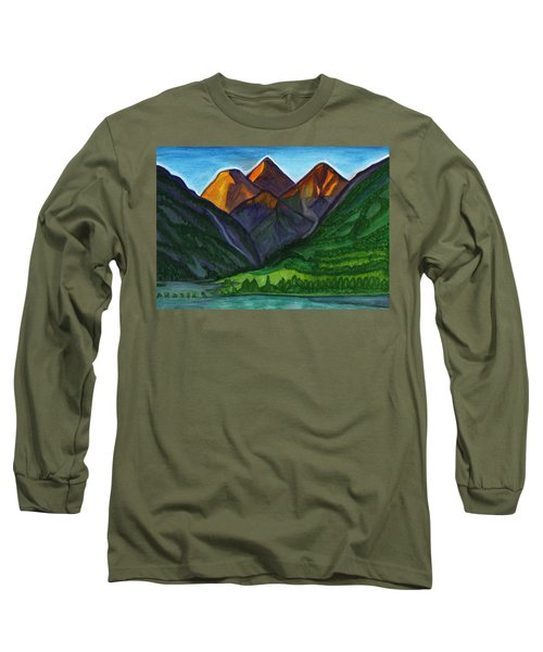 Evening Illumination Of Snowy Mountain Peaks With Waterfalls And A Mountain River Long Sleeve T-Shirt