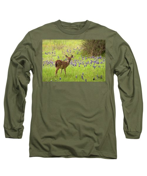 Deer In The Bluebonnets Long Sleeve T-Shirt
