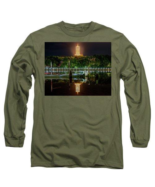 Docked Dragon Boat At Night IIi Long Sleeve T-Shirt