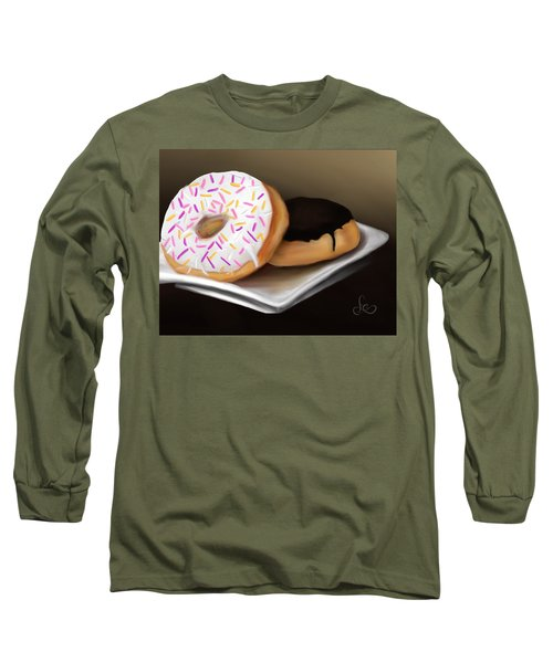 Long Sleeve T-Shirt featuring the painting Doughnut Life by Fe Jones