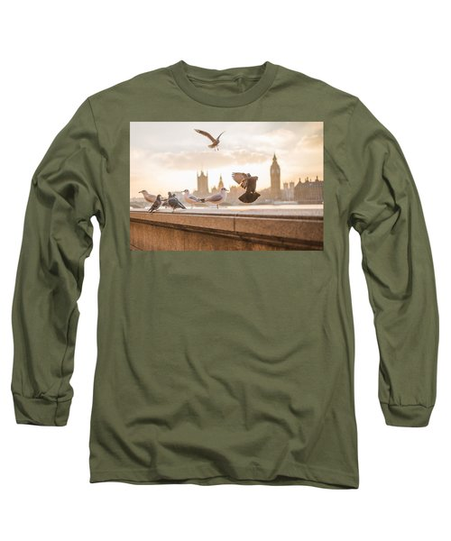 Doves And Seagulls Over The Thames In London Long Sleeve T-Shirt