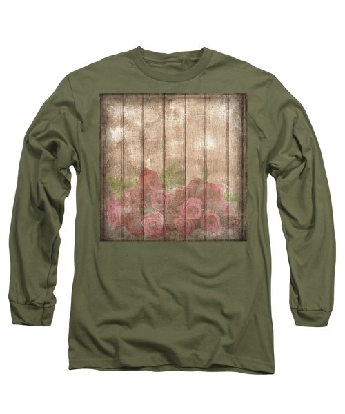 Faded Red Country Roses On Wood Long Sleeve T-Shirt