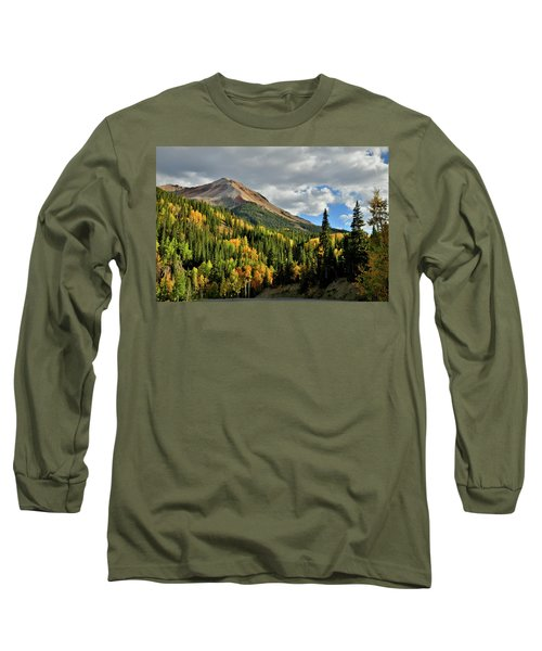 Fall Color Aspens Beneath Red Mountain Long Sleeve T-Shirt