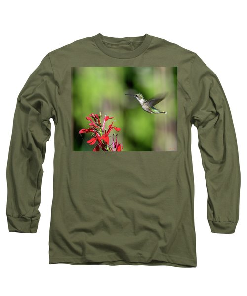 Female Ruby-throated Hummingbird Dsb0320 Long Sleeve T-Shirt