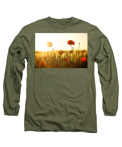 Field Of Poppies At Dawn Long Sleeve T-Shirt