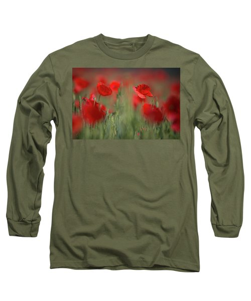Field Of Wild Red Poppies Long Sleeve T-Shirt