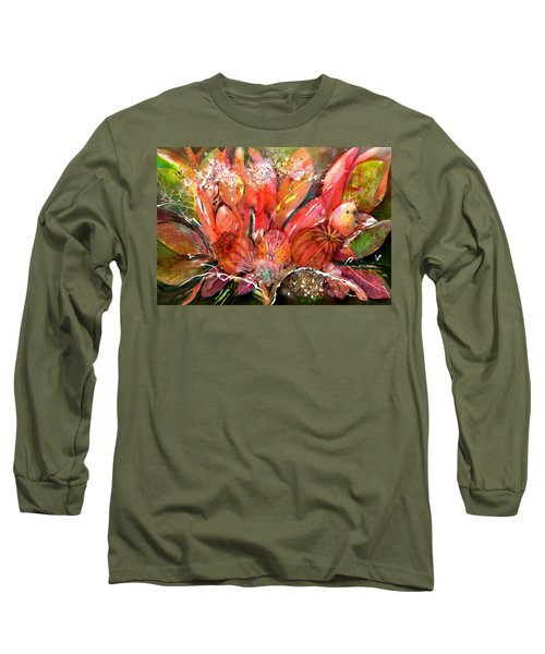 Flower Bouquet With Poppy Seed Pods Long Sleeve T-Shirt