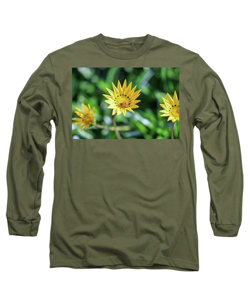 Yellow Flowers And A Bee Long Sleeve T-Shirt