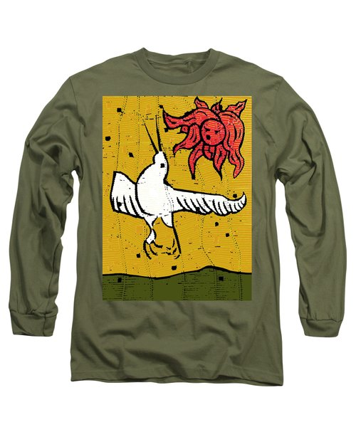 Flying Bird And Red Sun Face Long Sleeve T-Shirt