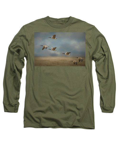 Geese, Coming In For A Landing Long Sleeve T-Shirt