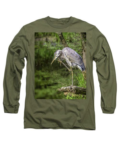 Great Blue Heron Itch Long Sleeve T-Shirt