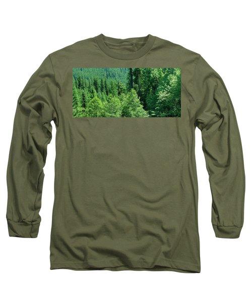 Green Conifer Forest On Steep Hillside  Long Sleeve T-Shirt