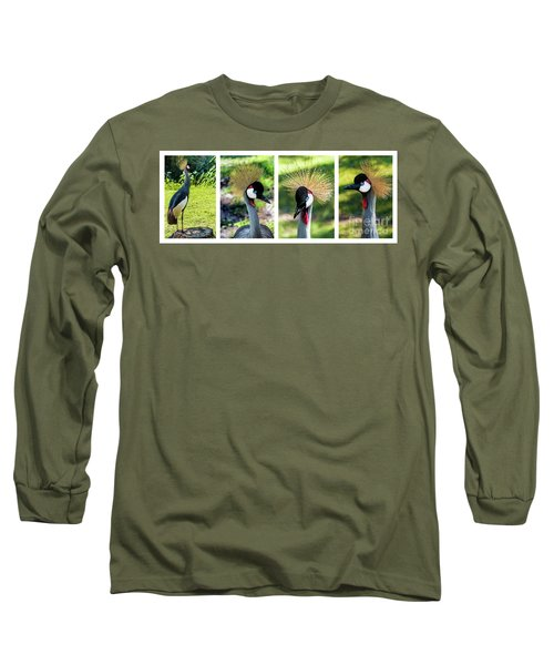 Grey Crowned Crane Gulf Shores Al Collage 1 Long Sleeve T-Shirt