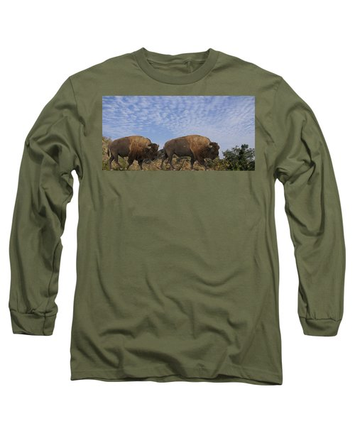 Group Of Bison Walking Against Rocky Mountains  Long Sleeve T-Shirt