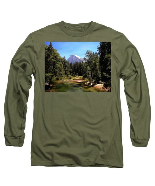 Half Dome From Ahwanee Bridge - Yosemite Long Sleeve T-Shirt