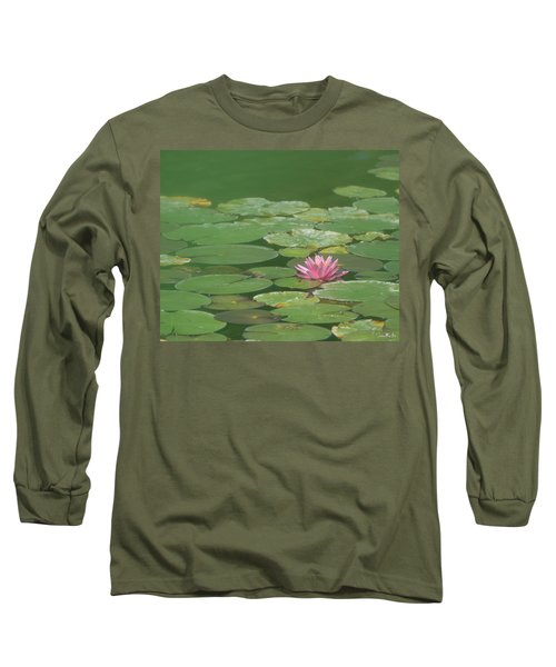Harmonious Pink Waterlily Long Sleeve T-Shirt