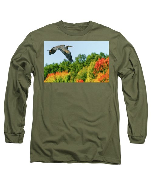 Heron In Autumn  Long Sleeve T-Shirt