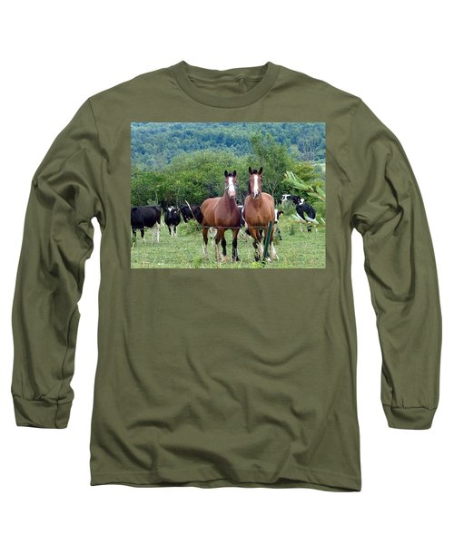 Horses And Cows.  Long Sleeve T-Shirt