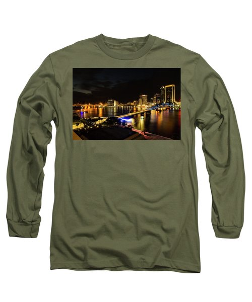 Jacksonville Skyline By Night Long Sleeve T-Shirt