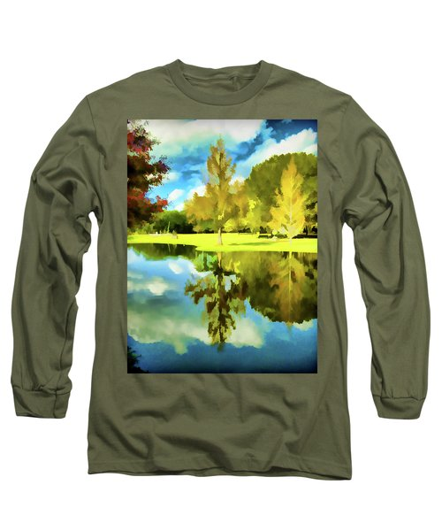 Lake Reflection - Faux Painted Long Sleeve T-Shirt