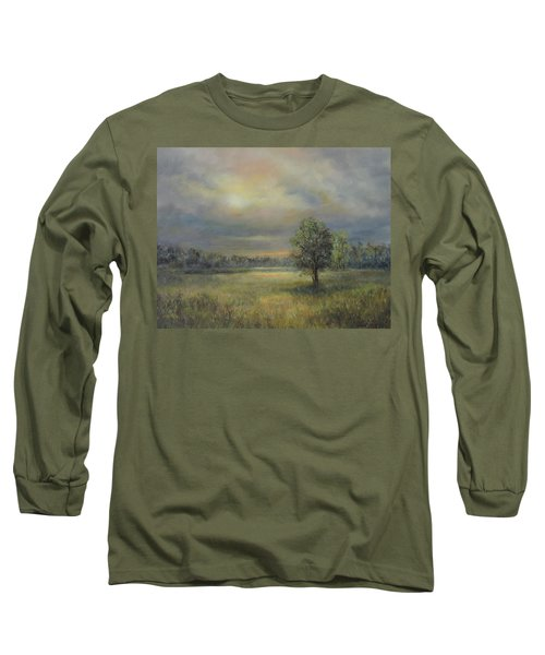 Landscape Of A Meadow With Sun And Trees Long Sleeve T-Shirt