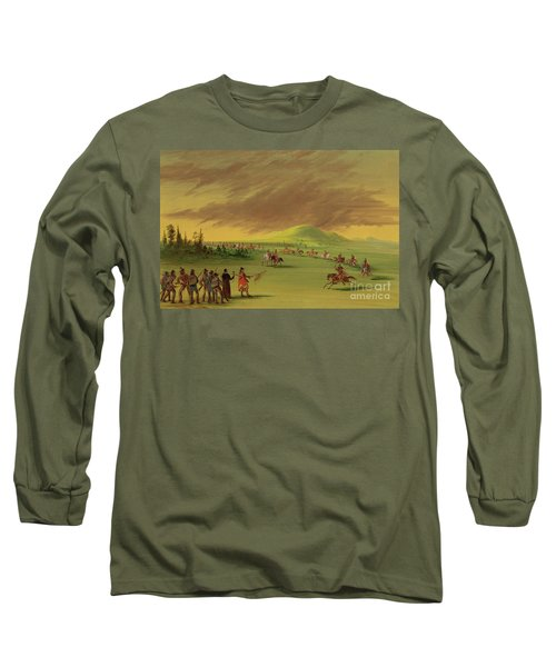 Lasalle Meets On The Prairie Of Texas, A War Party Of Cenis Indians, April 25th, 1686. Long Sleeve T-Shirt
