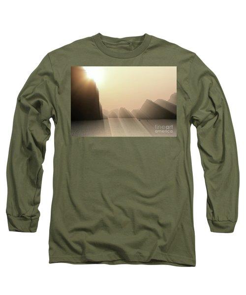 Limestone Sun Rays Ha Long Bay Vietnam Long Sleeve T-Shirt
